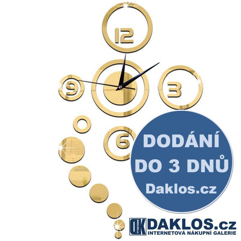 Nalepovací 3D nástěnné analogové hodiny - kruhy - zlaté DKC121829858996