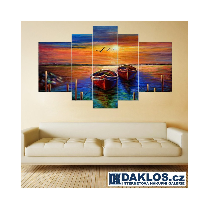 5x Obraz / Plátno / Plakát na zeď - Moře / Západ slunce / Lodě v přístavu DKAP082561