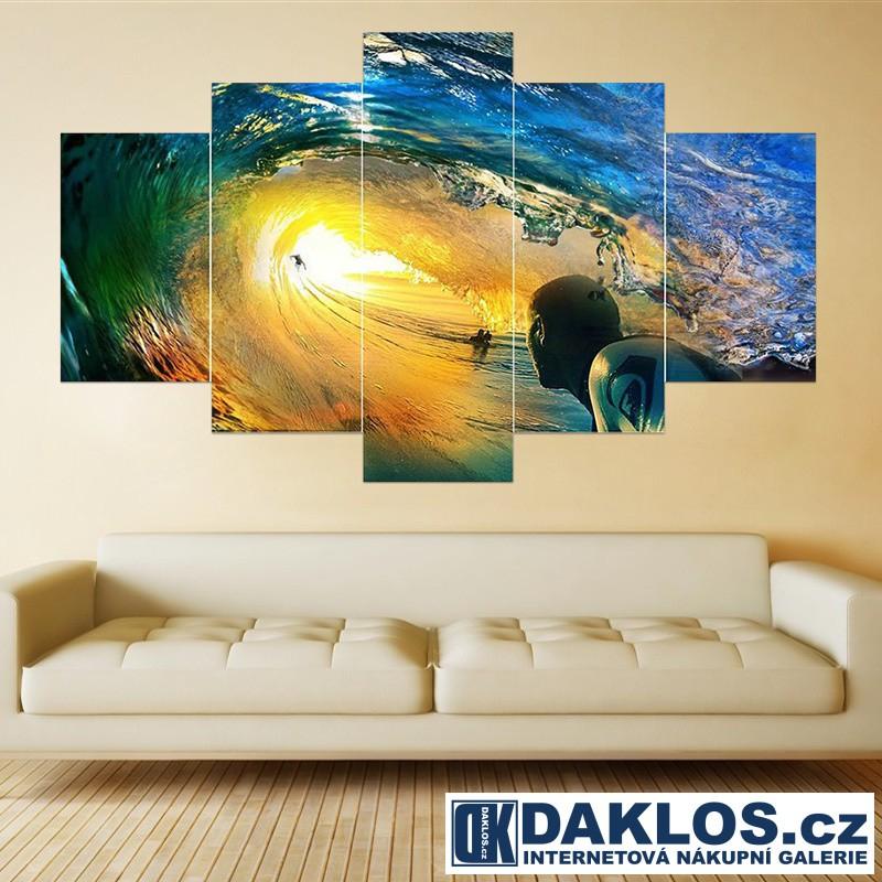 5x Obraz / Plátno / Plakát na zeď - Moře / Vlna / Surfař DKAP082545