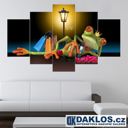 5x Obraz / Plátno / Plakát na zeď - Francie / Žába / Nákupy