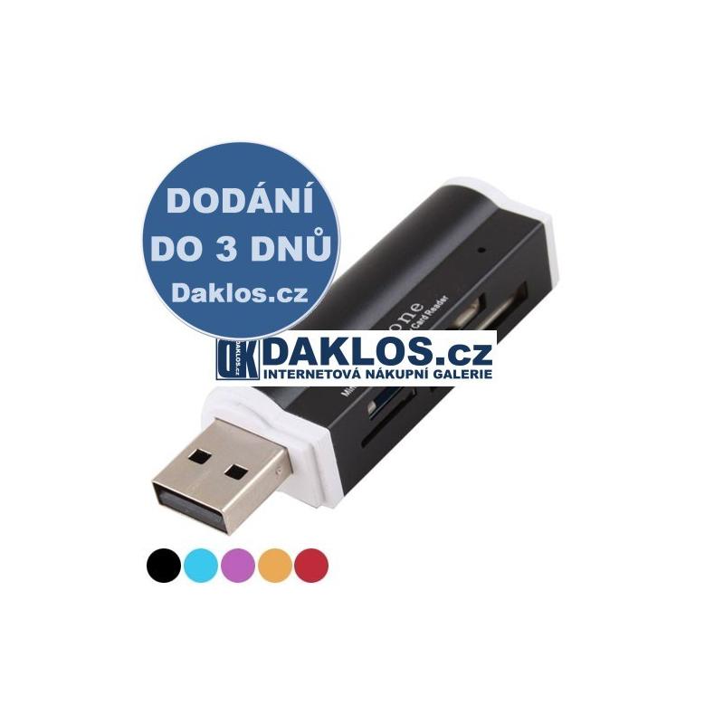 Čtečka paměťových karet do USB - 5 barev, Barva Černá DKAP019058