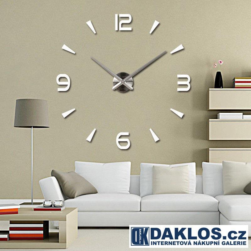Velké nalepovací 3D nástěnné analogové hodiny - 4 čísla - stříbrné DKC332050642322