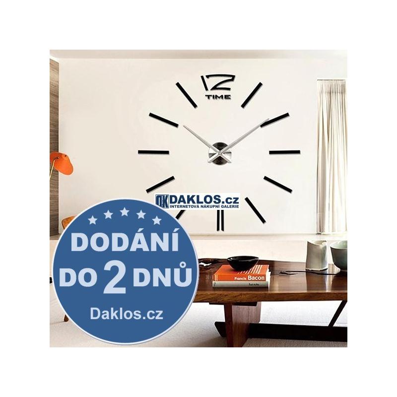 Velké nalepovací 3D nástěnné analogové hodiny - 12 - černé DKC331682284977