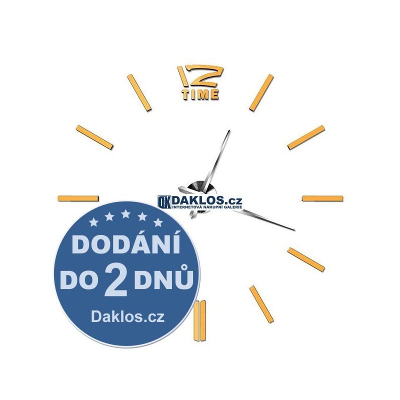 Velké nalepovací 3D nástěnné analogové hodiny - 12 - zlaté DKC331682284977