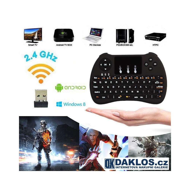 Bezdrátová klávesnice H9 - 2,4 GHz pro SMART TV, PC, Tablet, Notebook DKAP086517