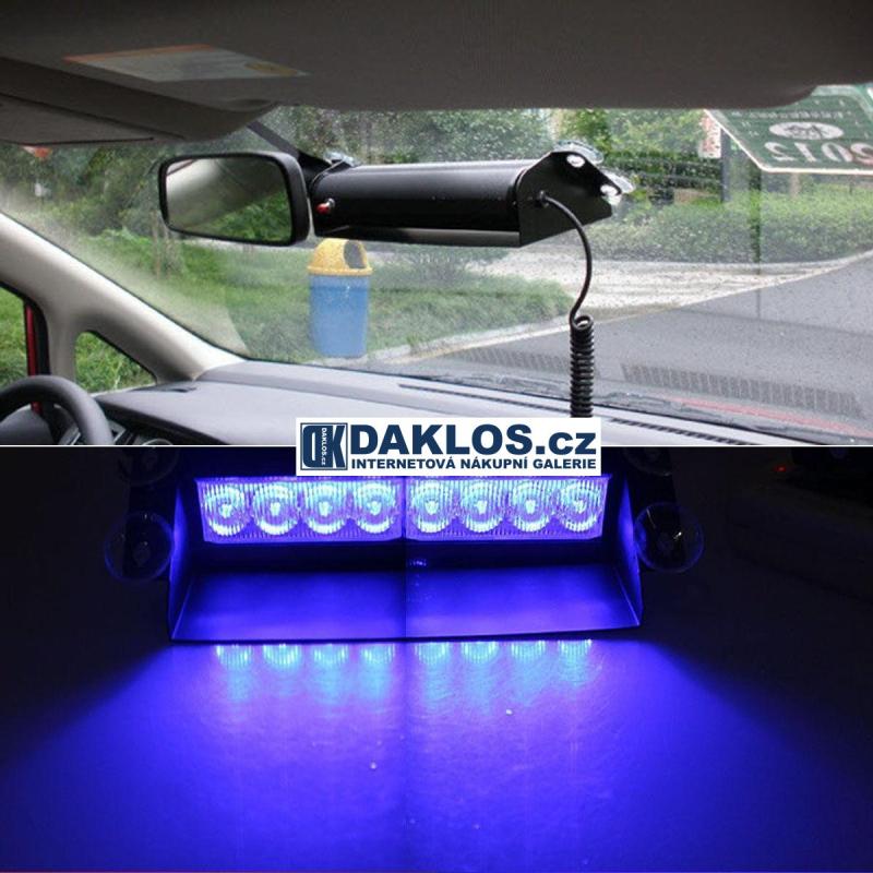 Modrý zábleskový LED maják / stroboskop / výstražné světlo za čelní sklo - velký DKC322271291841