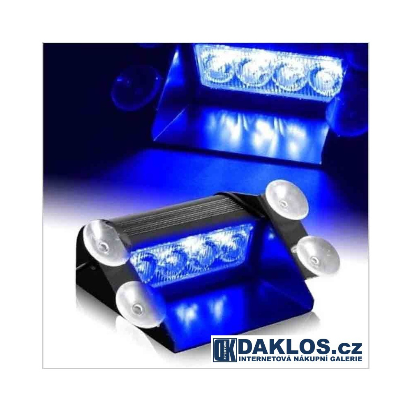 Modrý zábleskový LED maják / stroboskop / výstražné světlo za čelní sklo - malý DKC222310432573