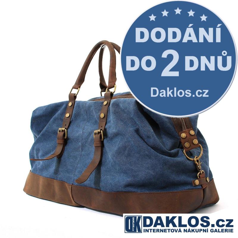 Pánská taška z pevného plátna a pravé kůže - modrá DKC322398194724