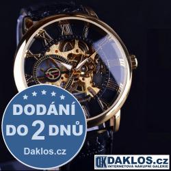 Luxusní hodinky s průhledným ciferníkem s římskými číslicemi a černozlatým pozadím - automatické