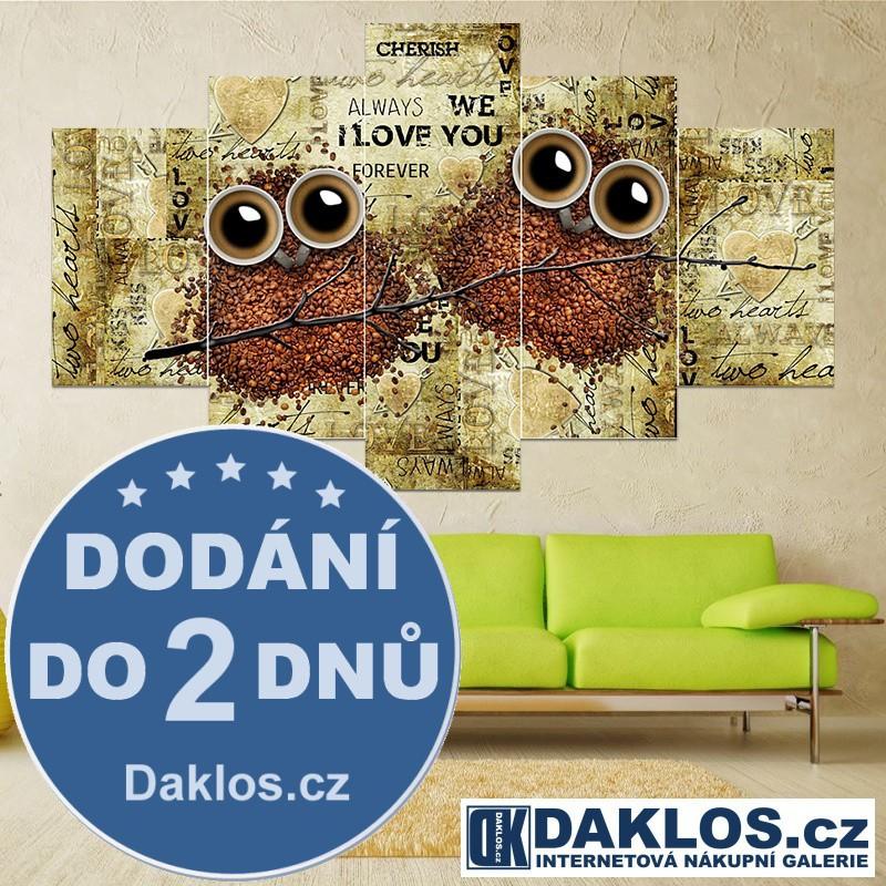 5x Obraz / Plátno / Plakát na zeď - Káva / Sovy DKAP082549