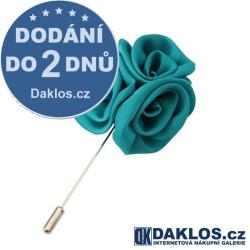 Společenská jehlice / brož do saka - zeleno modrá růže