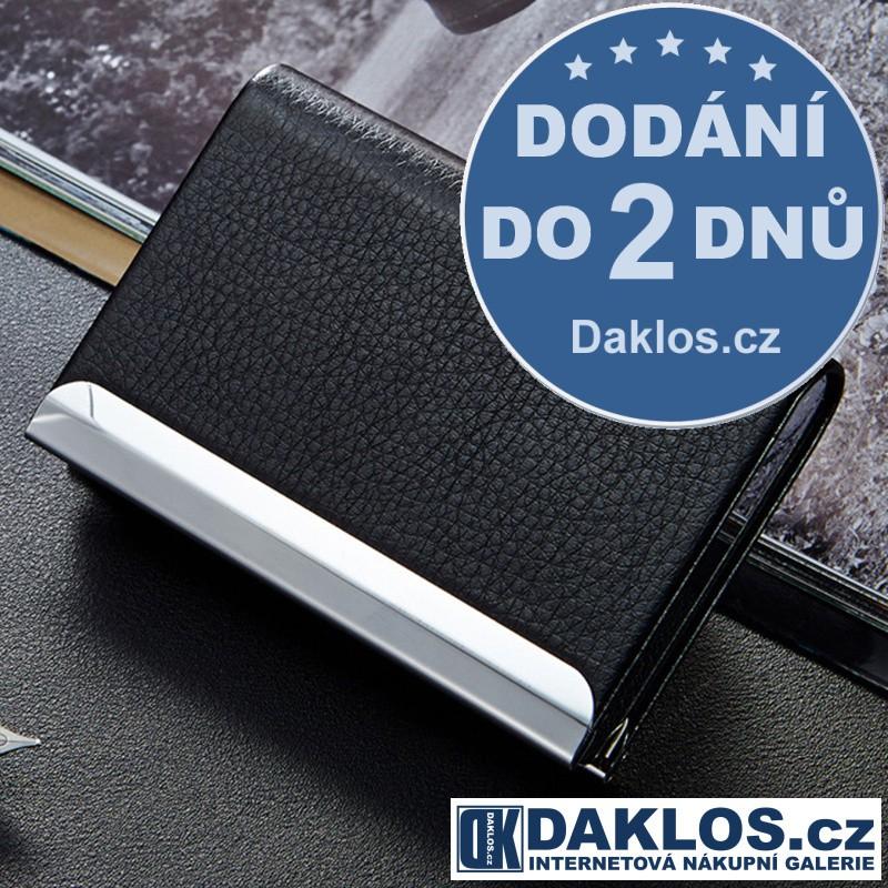 Magnetický kovový vizitkář / pouzdro na karty a doklady s umělou kůží DKC182178652350