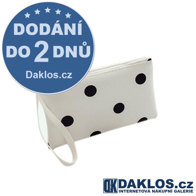 Dámská RETRO kabelka / peněženka - bílá s černými puntíky DKC152454357318