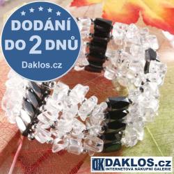 Luxusní magnetický náramek / náhrdelník Hematit s přírodními kameny - bílý