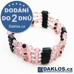 Luxusní magnetický náramek / náhrdelník Hematit - OKO - růžový