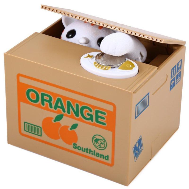 Kočka v akci - kasička - pokladnička - zloděj mincí, Barva Bílá DKAP060010