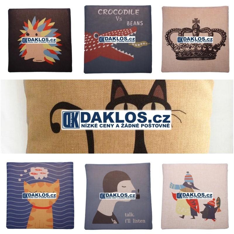 Retro potah na polštář - 44 cm x 44 cm - různé motivy, Styl 1# DKAP046533
