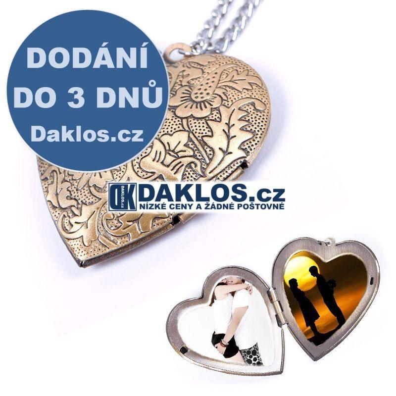 Řetízek / medailon na krk s přívěskem srdce pro fotografie / fotky DKAP050462