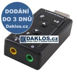 Adapter z USB do 3,5 mm audio virtual 7.1 Jack / reproduktory / sluchátka / mikrofon