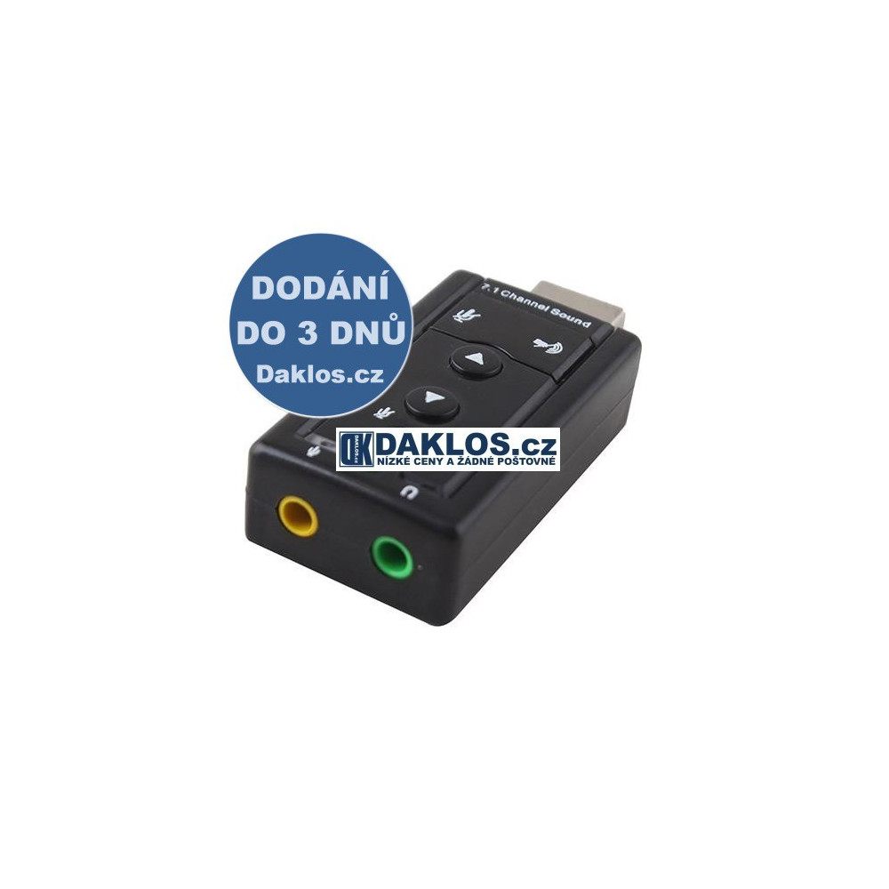 Adapter z USB do 3,5 mm audio virtual 7.1 Jack / reproduktory / sluchátka / mikrofon DKAP000087