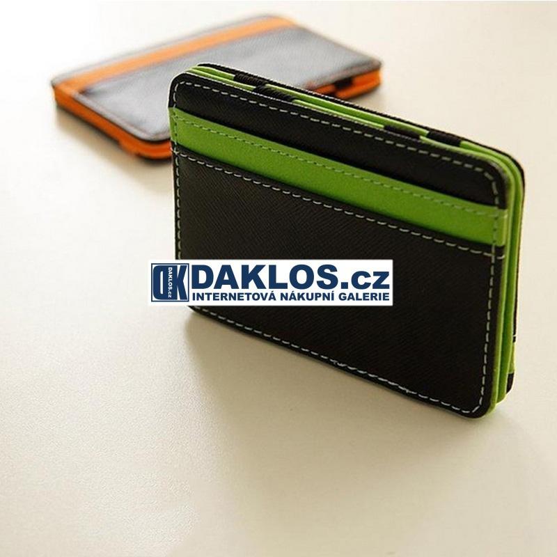 Elegantní super tenká pánská peněženka, Barva Zelená / Černá DKAP056374
