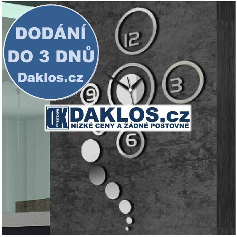 Nalepovací 3D nástěnné analogové hodiny - kruhy - stříbrné DKAP044186