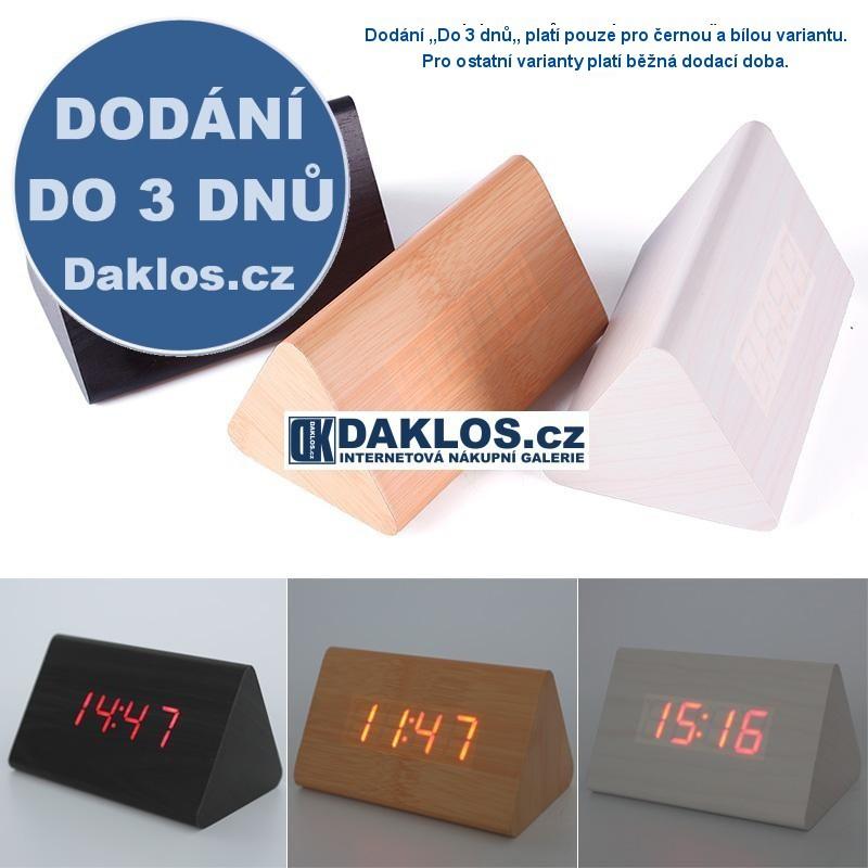 Dřevěné hodiny / digitální budík / teploměr - červené podsvícení, Barva Černá DKAP028660