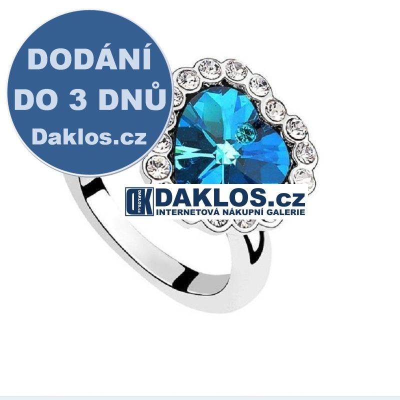 Prsten na motivy filmu TITANIC s modrým krystalem ve tvaru srdce DKAP040565