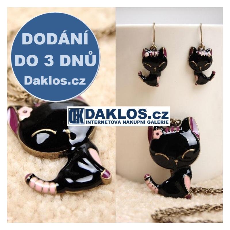 Set náhrdelníku / přívěsku a náušnic ve tvaru kočky DKAP039640