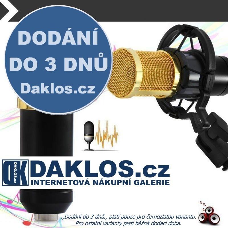 Profesionální studiový mikrofon BM800 pro náročné uživatele se stojánkem, Barevné provedení černá + zlatá DKAP069976