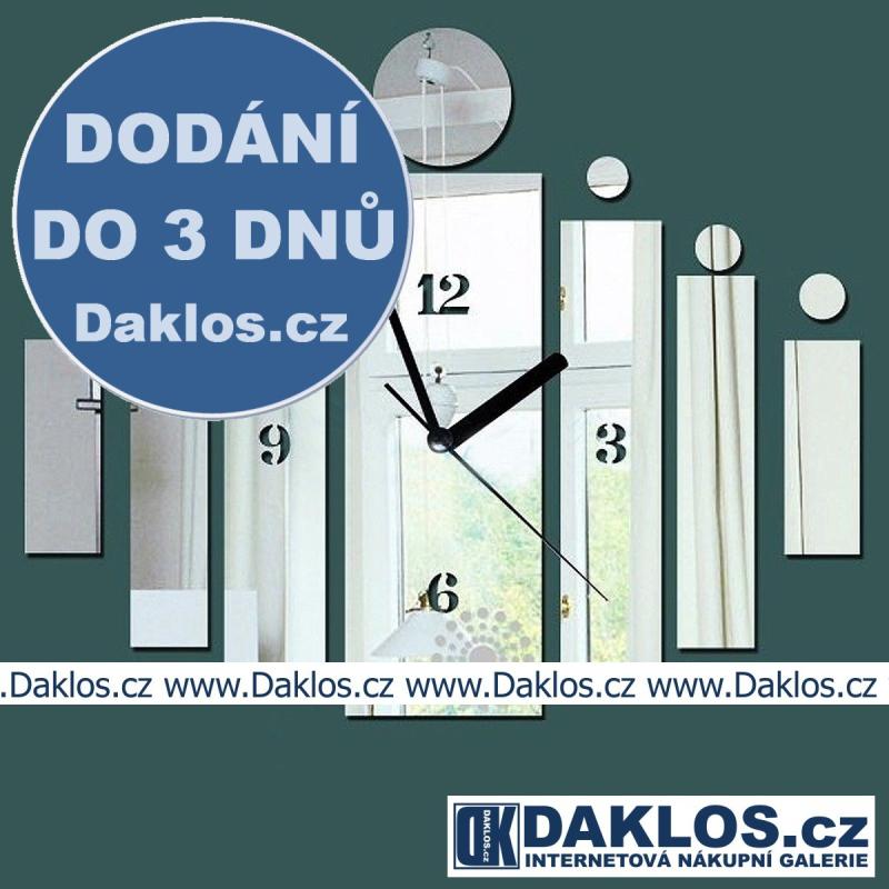 Nalepovací 3D nástěnné analogové hodiny - obdélníky a kruhy - stříbrné DKAC371510483234
