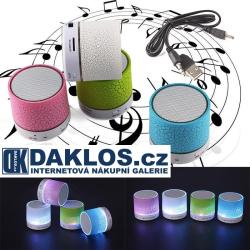 Svíticí LED BLUETOOTH přenosný MP3 reproduktor mSD karta