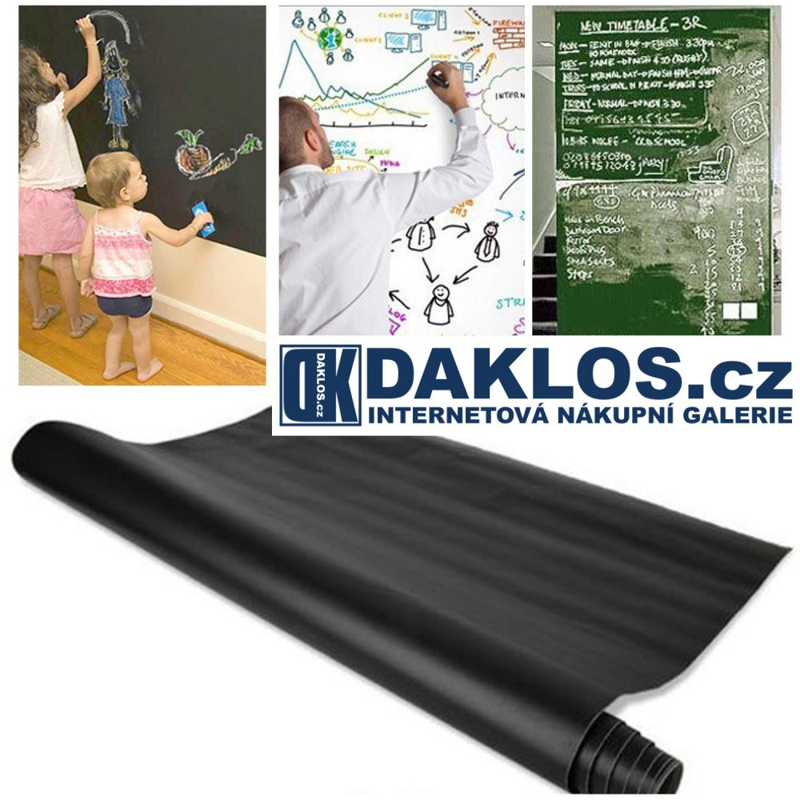 Nalepovací tabule - whiteboard / blackboard / greenboard, Barva Černá, Rozměry tabule 45x100cm DKC262184337889