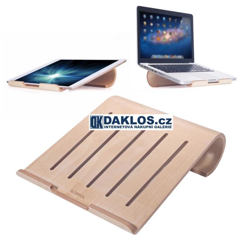 Exkluzivní dřevěný stolní držák / stojánek na MacBook / notebook / iPad / tablet / laptop - světlé dřevo DKC252410902447