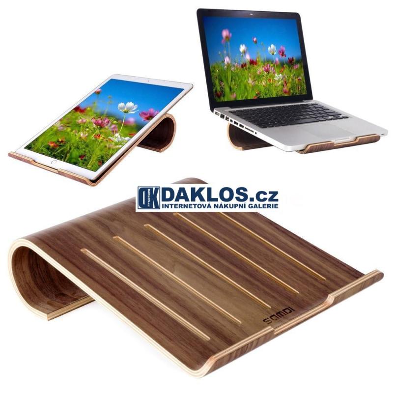 Exkluzivní dřevěný stolní držák / stojánek na MacBook / notebook / iPad / tablet / laptop - tmavé dřevo DKC381640464914
