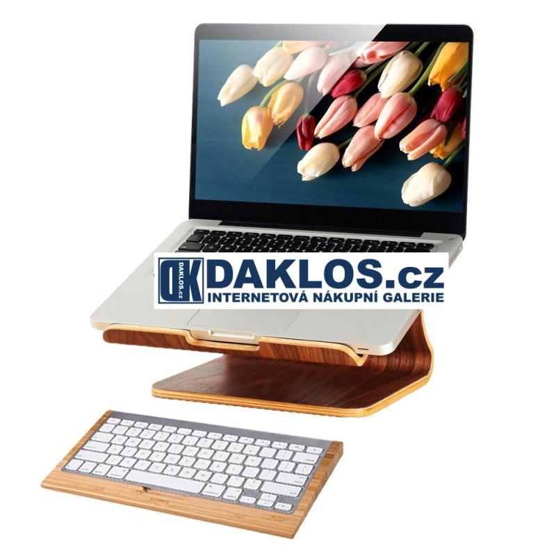 Exkluzivní dřevěný velký stolní držák / stojánek na MacBook / notebook / iPad / tablet / laptop - tmavé dřevo DKC381656817612