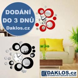 Nalepovací 3D nástěnné analogové hodiny s kruhy - černé, červené