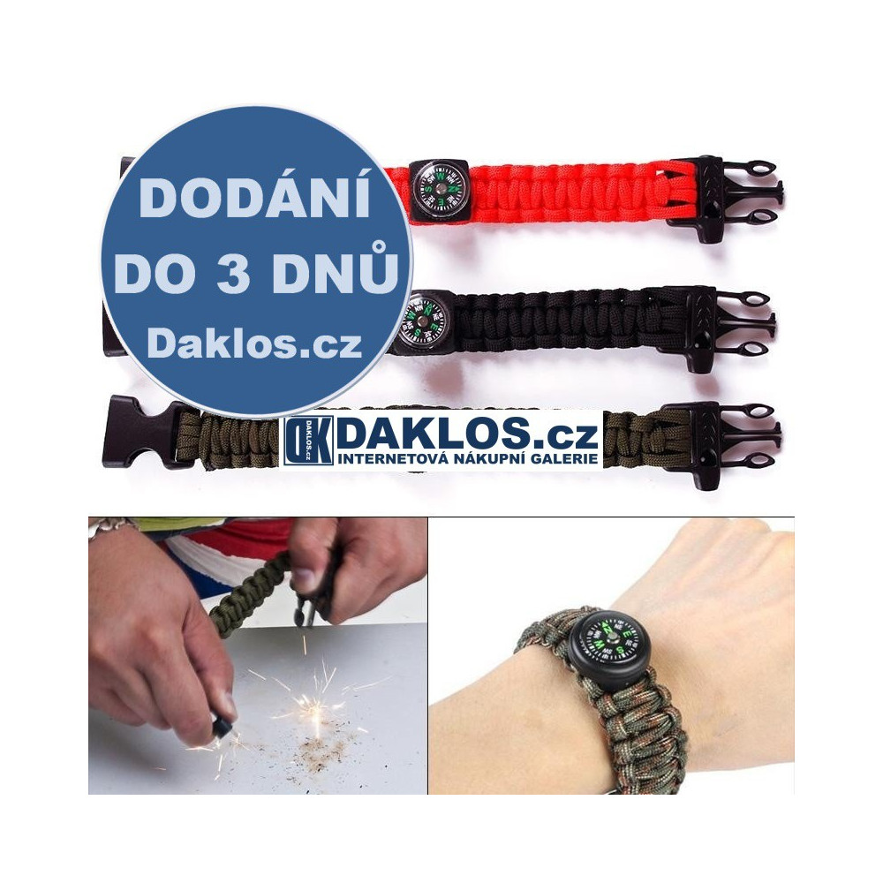 Náramek pro přežití - kompas, křesadlo, píšťalka, padáková šňůra, Barva Černá DKAP057156
