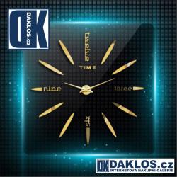 Nalepovací 3D nástěnné analogové hodiny - slova - zlaté