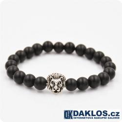 Luxusní náramek s lávovými kameny stříbrný lev