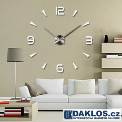 Velké nalepovací 3D nástěnné analogové hodiny - 4 čísla - stříbrné