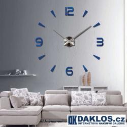 Velké nalepovací 3D nástěnné analogové hodiny - 4 čísla - modré