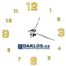 Velké nalepovací 3D nástěnné analogové hodiny - velká malá čísla - zlaté