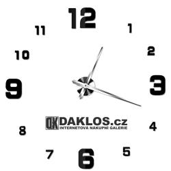 Velké nalepovací 3D nástěnné analogové hodiny - velká malá čísla - černé