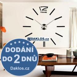 Velké nalepovací 3D nástěnné analogové hodiny - 12 - černé