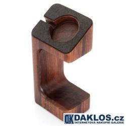 Exkluzivní dřevěný nabíjecí stolní držák / stojánek na Apple Watch 38/42mm