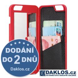 Luxusní kryt s zrcátkem a pouzdrem na karty pro Apple iPhone 6 Plus 6S Plus - červený