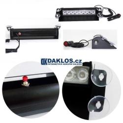 Modrý zábleskový LED maják / stroboskop / výstražné světlo za čelní sklo - velký