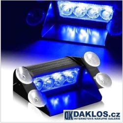Modrý LED maják / stroboskop / výstražné světlo za čelní sklo - malý