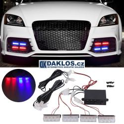Modrý / Červený LED maják / stroboskop / výstražné světlo do přední masky